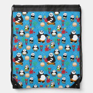 Kung Fu Pandas Blue Pattern Drawstring Bag