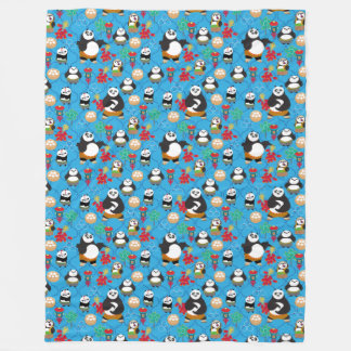 Kung Fu Pandas Blue Pattern Fleece Blanket