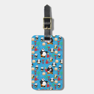 Kung Fu Pandas Blue Pattern Luggage Tag