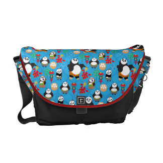 Kung Fu Pandas Blue Pattern Messenger Bag