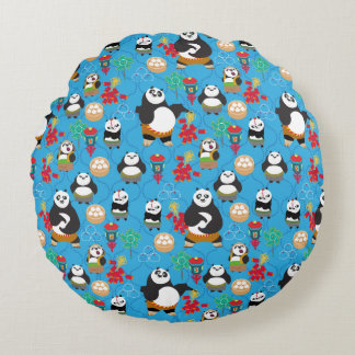 Kung Fu Pandas Blue Pattern Round Cushion