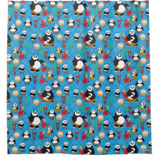 Kung Fu Pandas Blue Pattern Shower Curtain