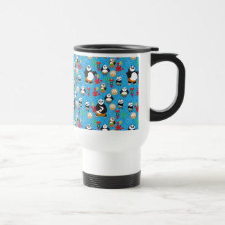 Kung Fu Pandas Blue Pattern Travel Mug