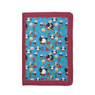 Kung Fu Pandas Blue Pattern Trifold Wallet