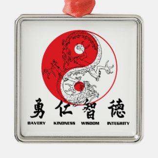 Kung Fu Silver-Colored Square Decoration