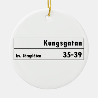 Kungsgatan, Stockholm, Swedish Street Sign Round Ceramic Decoration