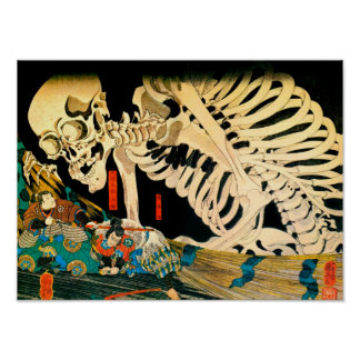 Kuniyoshi Skeleton Summoned by Witch Posters