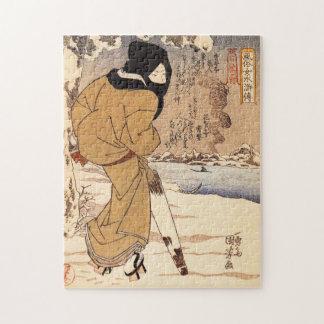 Kuniyoshi Woman Walking in the Snow Puzzle