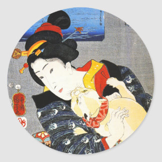 Kuniyoshi Woman with a Cat Stickers