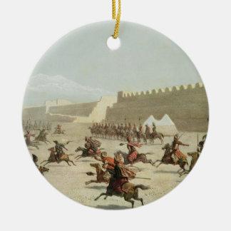 Kurdish and Tatar Warriors at Sadar Abbat, Armenia Round Ceramic Decoration