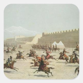Kurdish and Tatar Warriors at Sadar Abbat, Armenia Square Sticker