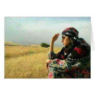 Kurdish Lady waiting for her Hero Greeting Card