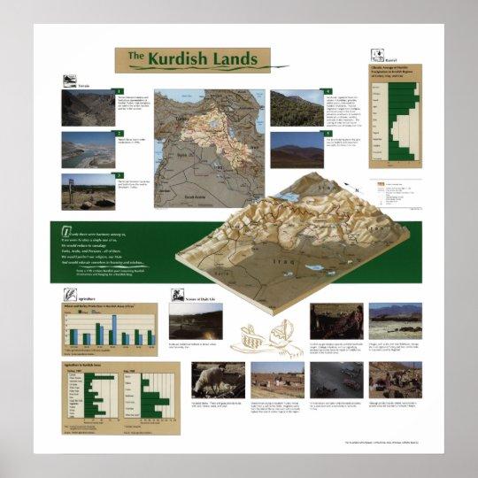 Kurdish Lands Map 1992 Poster