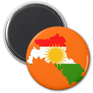 Kurdistan flag map 6 cm round magnet