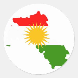 Kurdistan flag map round sticker