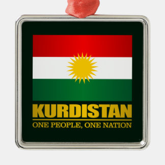 Kurdistan (One People, One Nation) Silver-Colored Square Decoration