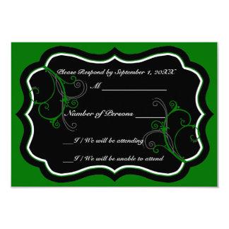 Kurli-Q Ebony B (Green) RSVP Card Personalized Invitation