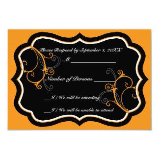 Kurli-Q Ebony B (Orange) RSVP Card Custom Announcements
