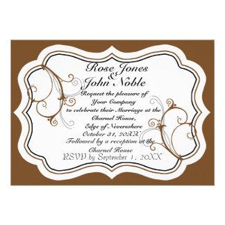 Kurli-Q Ivory A (Brown) Wedding Invitation