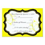 "Kurli-Q Ivory B (Yellow) RSVP Card 3.5"" X 5"" Invitation Card"