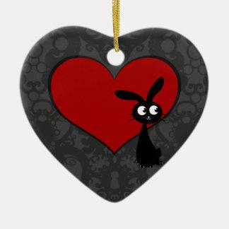 Kuro Bunny Love II Ceramic Heart Decoration