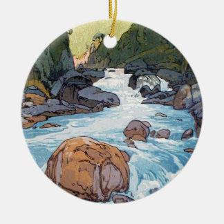 Kurobe River by Hiroshi Yoshida shin hanga art Double-Sided Ceramic Round Christmas Ornament