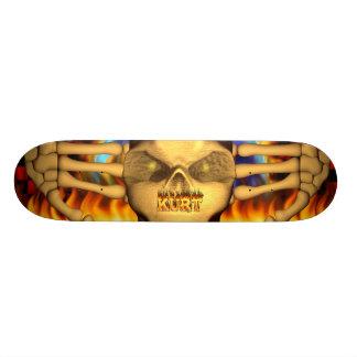 Kurt skull real fire and flames skateboard design
