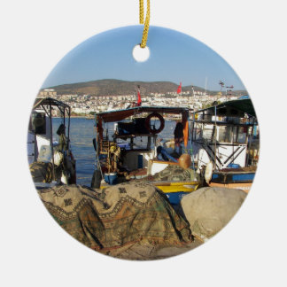 Kusadasi Fishing Harbor Round Ceramic Decoration