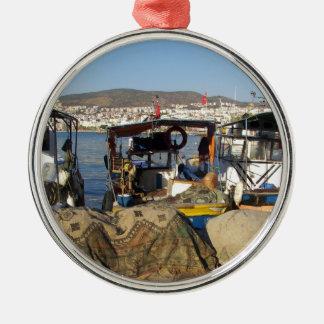 Kusadasi Fishing Harbor Silver-Colored Round Decoration