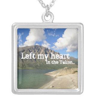 Kusawa Lake; Yukon Territory Souvenir Square Pendant Necklace