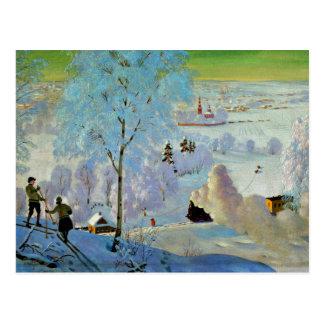Kustodiev - Skiers Postcard