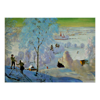 Kustodiev - Skiers Poster