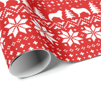 Kuvasz Silhouettes Christmas Sweater Pattern Red Wrapping Paper