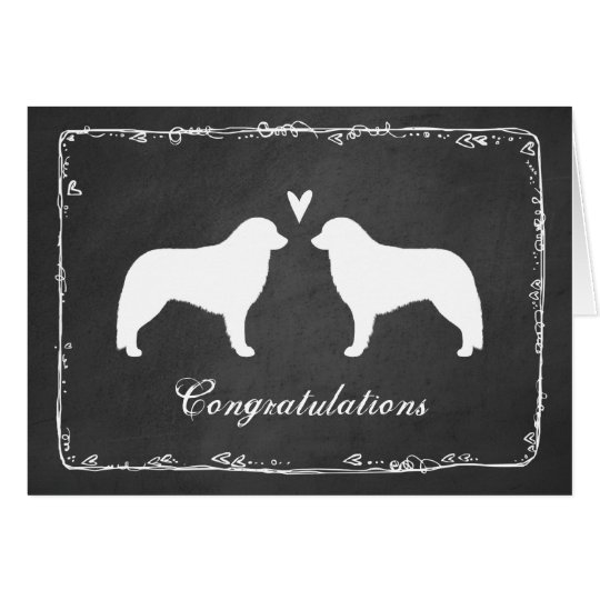 Kuvasz Silhouettes Wedding Congratulations Card