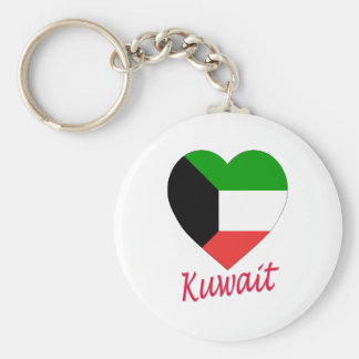 Kuwait Flag Heart Basic Round Button Key Ring