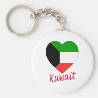 Kuwait Flag Heart Basic Round Button Key Ring