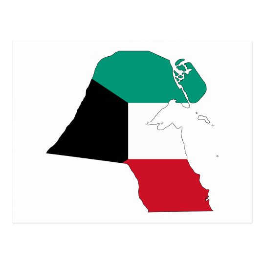 Kuwait Flag Map Postcard