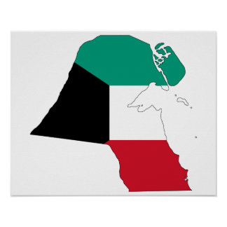 Kuwait Flag Map Poster