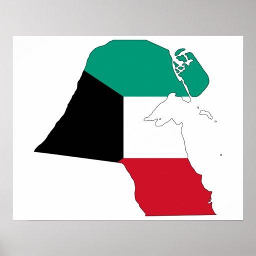 Kuwait Flag Map Print