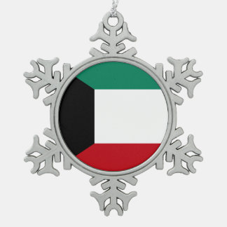 Kuwait Flag Snowflake Pewter Christmas Ornament