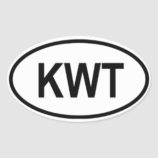 "Kuwait KWT"" Oval Sticker"