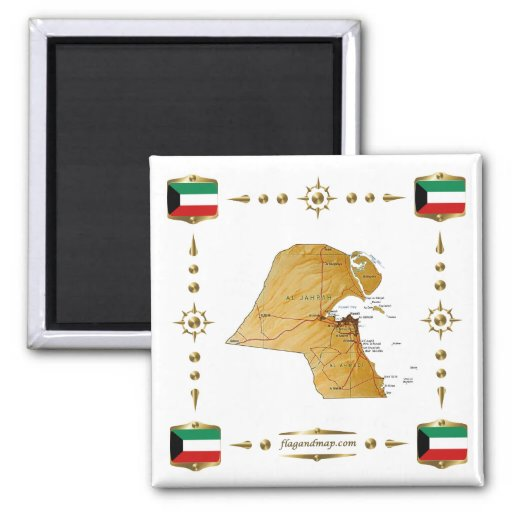 Kuwait Map + Flags Magnet