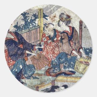 Kuwana  by Katsushika, Hokusai Ukiyoe Round Sticker