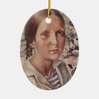 Kuzma Petrov-Vodkin- The girl on the beach Christmas Tree Ornaments