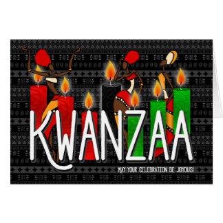 Kwanzaa African American Dancers Kinara Candles Card