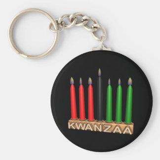 Kwanzaa Basic Round Button Key Ring
