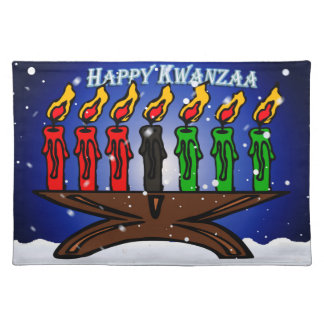 Kwanzaa Candle Kinara with Snow And Greeting Place Mat