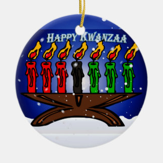 Kwanzaa Candle Kinara with Snow And Greeting Ornament
