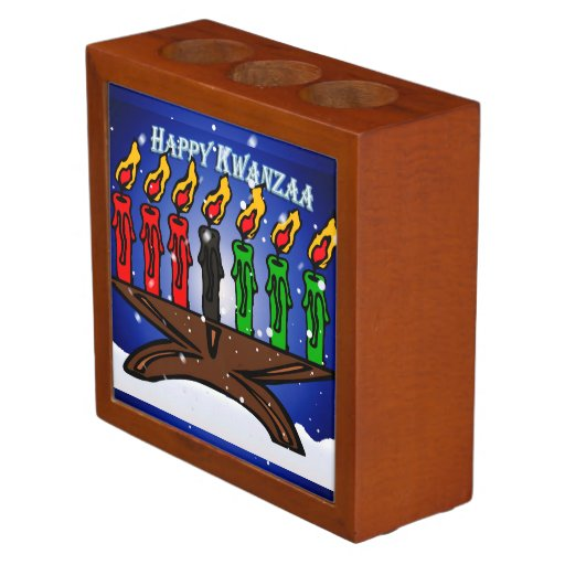 Kwanzaa Candle Kinara with Snow And Greeting Pencil Holder
