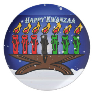 Kwanzaa Candle Kinara with Snow And Greeting Dinner Plate